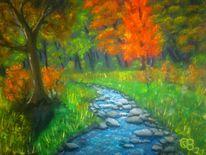 Bach, Blau, Ölmalerei, Wald