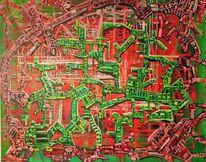 Rot, Gestisch, Ölmalerei, Grün