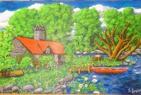 Natur, Malerei, Grün, Landschaft