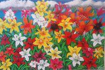 Bunt, Lilien, Acrylmalerei, Blüte