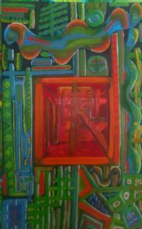 Intuition, Ölmalerei, Grün, Chaos