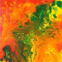 Orange, Abstrakt, Rot, Acrylmalerei