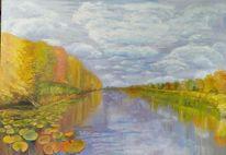 Blätter, Fluss, Herbst, Malerei