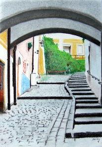 Stadt, Passau, Ansicht, Malerei