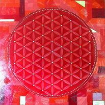 Rot, Lebensblume, Quadrat, Blume des lebens