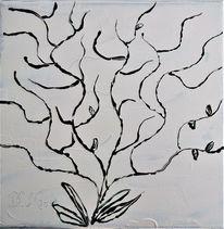 Strauch, Winter, Acrylmalerei, Malerei