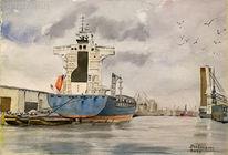 Bremerhaven, Schiff, Wasser, Wolken