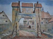 Reduzierte farbpalette, Brücke, Burg, Burg vischering