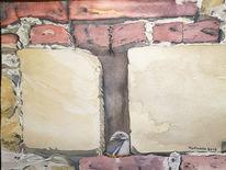 Ziegel, Aquarellmalerei, Burg, Mauer