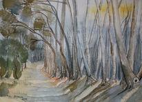 Schatten, Lasurtechnik, Baum, Landschaft