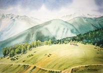Südtirol, Berge, Watles, Aquarell