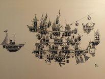 Wurst, Surreal, Fantasie, Acrylmalerei