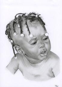Kind, Perlen, Portrait, Zeichnung