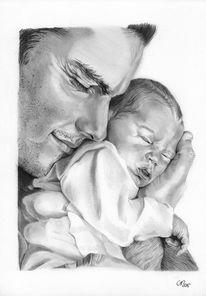 Mann, Bleistiftzeichnung, Baby, Kind