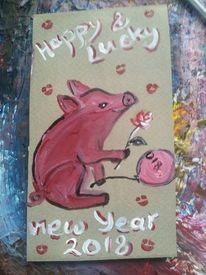 Schwein, Glück, Malerei,