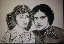 Paar, Portrait, Retro, Malerei
