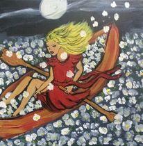 Frau, Boot, Blumen, Malerei