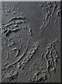 Mischtechnik, Abstrakte malerei, Schwarz
