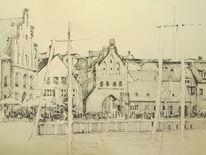 Tuschmalerei, Skizze, Urban sketch, Zeichnungen