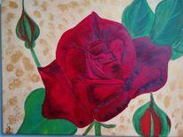 Rose, Rot, Blume, Malerei