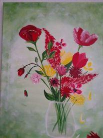 Sommer, Srauß, Vase, Blumen