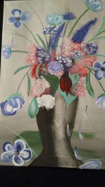 Blumen, Vase, Bunter strauß, Malerei