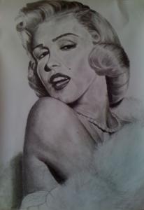 Frau, Kohlezeichnung, Monroe, Marylin monroe