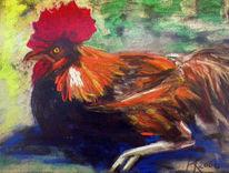 Ruhe, Bauernhof, Hahn, Pastellmalerei