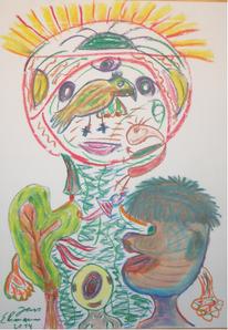 Universum, Pastellmalerei, Vogel, Baum