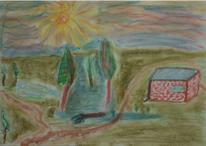 Landschaft, Bunt, Pastellmalerei, Zeichnung