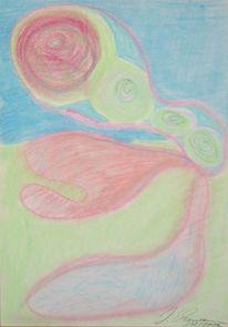 Pastellmalerei, Rot, Landschaft, Figur