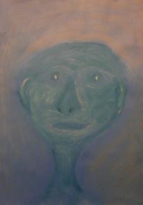 Acrylmalerei, Gesicht, Mann, Grün