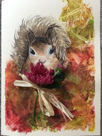 Grußkarten, Natur, Herbst, Eichhörnchen