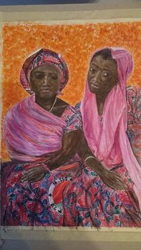 Afrikanerinnen, Melancholie, Frau, Aquarell