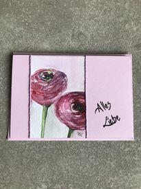 Glückwunschkarte, Frühling, Ranunkeln, Blumen