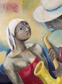 Figur, Musik, Saxofon, Malerei
