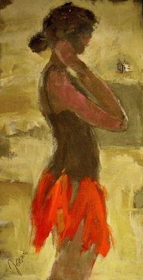 Strand, Punkt, Frau, Malerei