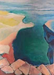 Grün, Blau, Strand, Malerei