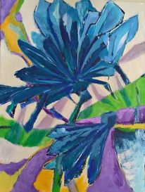 Lila, Grün, Blau, Kornblumen