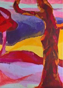 Lebhaft, Landschaft, Rot, Blau