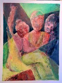 Menschen, Acrylmalerei, 2015, Abstrakt
