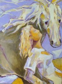 Ocker, Lavendel, Pferde, Elfenbein