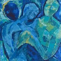 Blau, Türkis, Figur, Malerei
