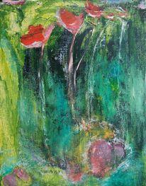 Blumen, Grün, Rot, Malerei