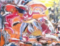Fantasie, Orange, Rot, Malerei