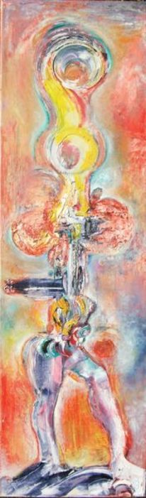 Körper, Indigo, Orange, Malerei