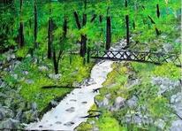 Grün, Malerei, Landschaft, Natur