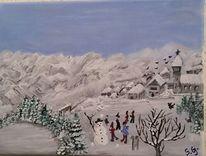 Natur, Schnee, Landschaft, Malerei