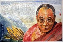Dalai, Aquarellmalerei, Lama, Portrait