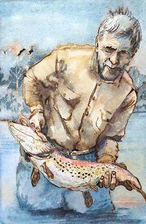 Angler, Fisch, Wasser, Menschen